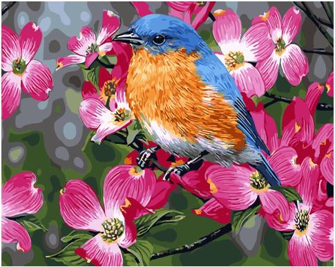 Картина по номерам 40x50 Синяя птичка на цветущей яблоне
