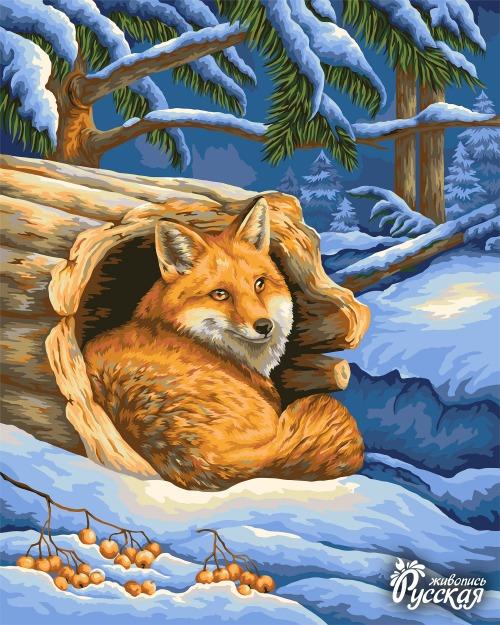 Картина по номерам 40x50 Лисичка у дерева в зимнем лесу