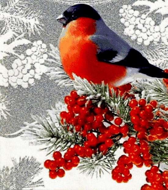 Картина по номерам 40x50 Снегирь на ветке рябины