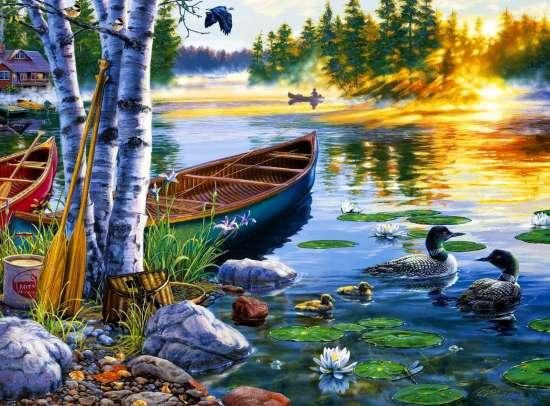 Картина по номерам 40x50 Рыбацкое озеро с дикими утками