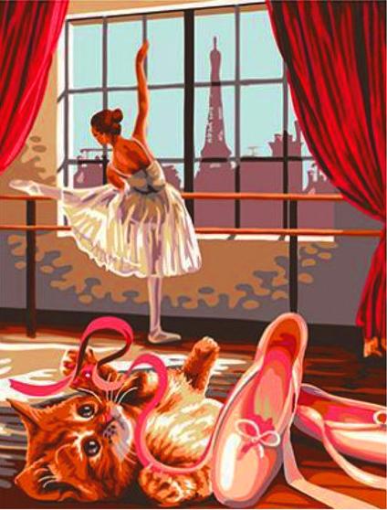 Алмазная мозаика 30x40 Разминка балерины и котенок