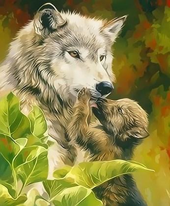 Картина по номерам 30x40 Волчица со своим волчонком